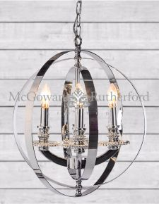 Medium Chrome Sphere Chandelier