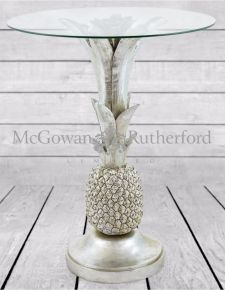 Silver Pineapple Glass Top Side Table