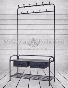 "Black Metal ""Verne"" Coat Rack Bench"