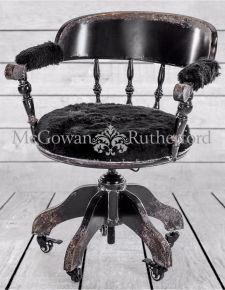 "Black Metal ""Verne"" Traditional Swivel Desk Chair"
