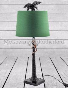 Palm Tree with Climbing Monkey Table Lamp with Green Shade