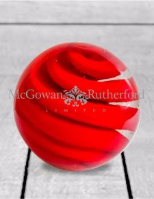 Red Swirl Glass Ball Door Stop