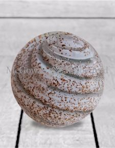White with Gold Swirl Glass Ball Door Stop