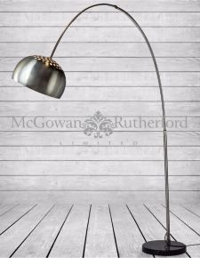 Large Steel Arc Lamp with Black Round Marble Base