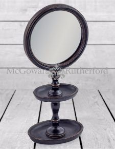 Black Framed Mirror on Stand with Trays