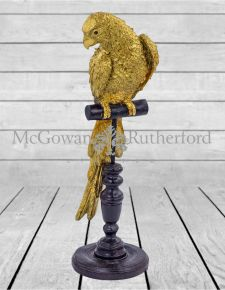 Gold Parrot on Perch Figure