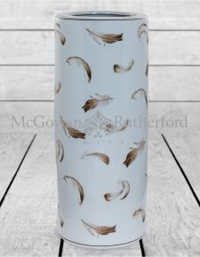 Large Cream Ceramic Umbrella Stand with Feather Detail