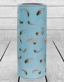 Large Blue Ceramic Umbrella Stand with Feather Detail