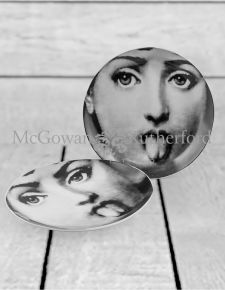 "Set of 2 Black and White Lady Face 10"" Ceramic Plates - Tongue"