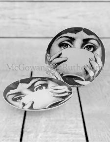 "Set of 2 Black and White Lady Face 10"" Ceramic Plates - Bowl"