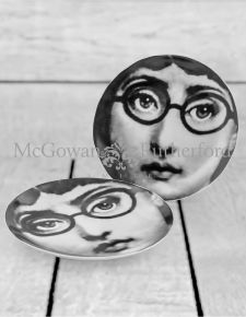 "Set of 2 Black and White Lady Face 10"" Ceramic Plates - Glasses"