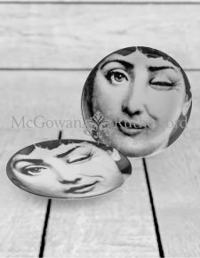 "Set of 2 Black and White Lady Face 10"" Ceramic Plates - Wink"