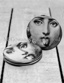 "Set of 4 Black and White Lady Face 7"" Ceramic Plates - Tongue"