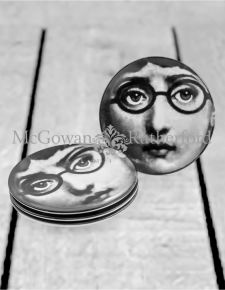 "Set of 4 Black and White Lady Face 7"" Ceramic Plates - Glasses"
