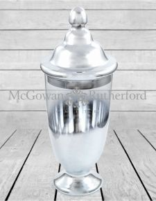 Large Silvered Glass Jar with Lid