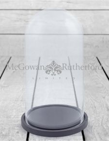 Medium Glass Dome/Cloche on Black Wooden Base