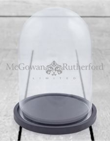 Small Glass Dome/Cloche on Black Wooden Base