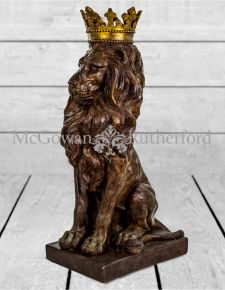 Large Rustic Bronze Effect Crown Lion Figure