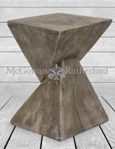 Whitewash Wood Effect Stool/ Side Table