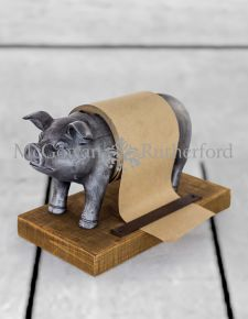 Silver Pig Note Paper Roll Holder