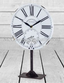 White Enamel Style Table Clock on Stand