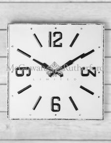 Large Square White and Black Antiqued Wall Clock