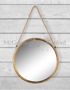 *Carton of 4* Large Round Gold Metal Mirrors on Hanging Ropes