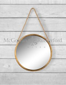 *Carton of 4* Medium Round Gold Metal Mirrors on Hanging Ropes