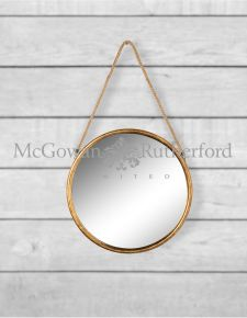 *Carton of 6* Small Round Gold Metal Mirrors on Hanging Ropes