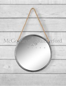 Medium Round Silver Metal Mirror on Hanging Rope with Hook