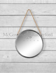 Small Round Silver Metal Mirror on Hanging Rope with Hook