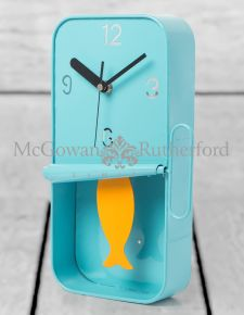 Blue Metal Sardine Tin Pendulum Wall Clock