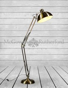 Vintage Gold Extra Large Classic Desk Style Floor Lamp (Black Fabric Flex)