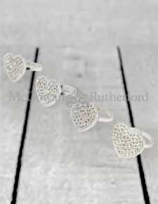 Diamond Heart set of 4 Napkin Rings with Gift Box