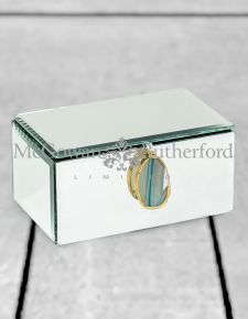 Medium Mirrored Jewellery Box with Blue Agate Handle