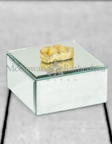 Square Mirrored Jewellery Box with White Rock Handle
