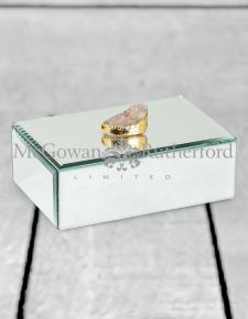 Rectangular Mirrored Jewellery Box with White Rock Handle