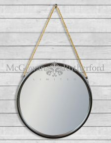 *Carton of 4* Large Round Black Metal Mirrors on Hanging Ropes with Hooks
