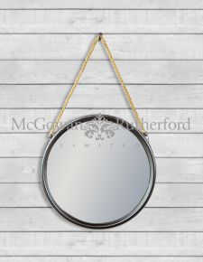 *Carton of 4* Medium Round Black Metal Mirrors on Hanging Ropes with Hooks