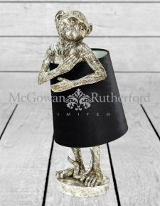 Antique Silver Bashful Monkey Table Lamp with Black Velvet Shade