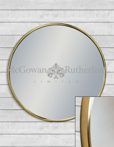 Medium Round Vintage Brass Style Framed Wall Mirror