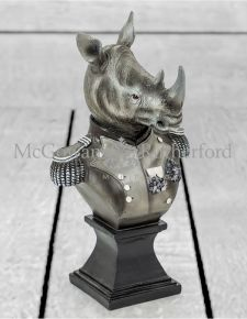 Small Monochrome Gentry Rhino Bust on Square Base