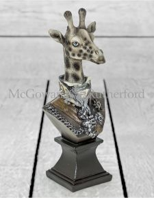 Small Monochrome Gentry Giraffe Bust on Square Base