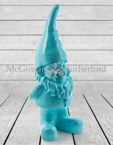 Large Bright Blue Standing Gnome Figure