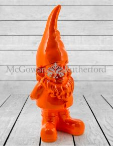 Large Bright Orange Standing Gnome Figure