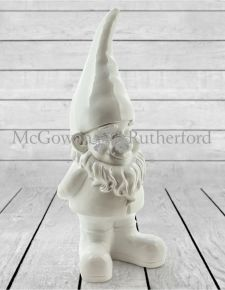 Large Bright White Standing Gnome Figure
