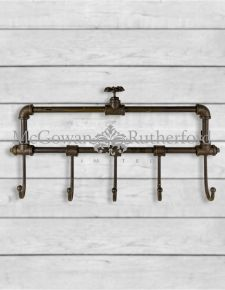 Industrial 5 Hook Iron Wall Coat Rack