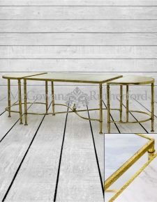 White Marble and Gold Leaf Coffee and Side Tables Set