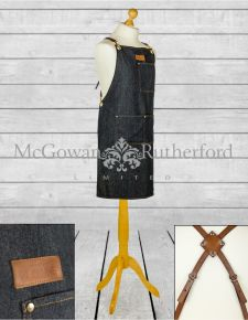 "Artisan Denim ""Slave to the Stove"" Apron with Leather Straps  *CLEARANCE ITEM*"