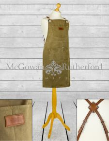 "Artisan Canvas ""Slave to the Stove"" Apron with Leather Straps  *CLEARANCE ITEM*"